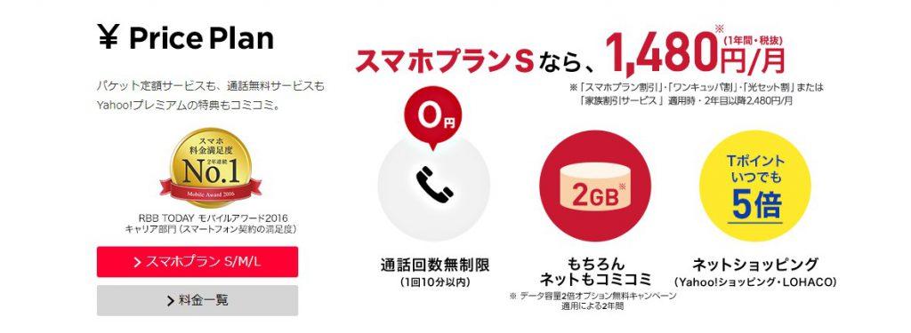 ワイモバイルは携帯料金に10分の無料通話が含まれている