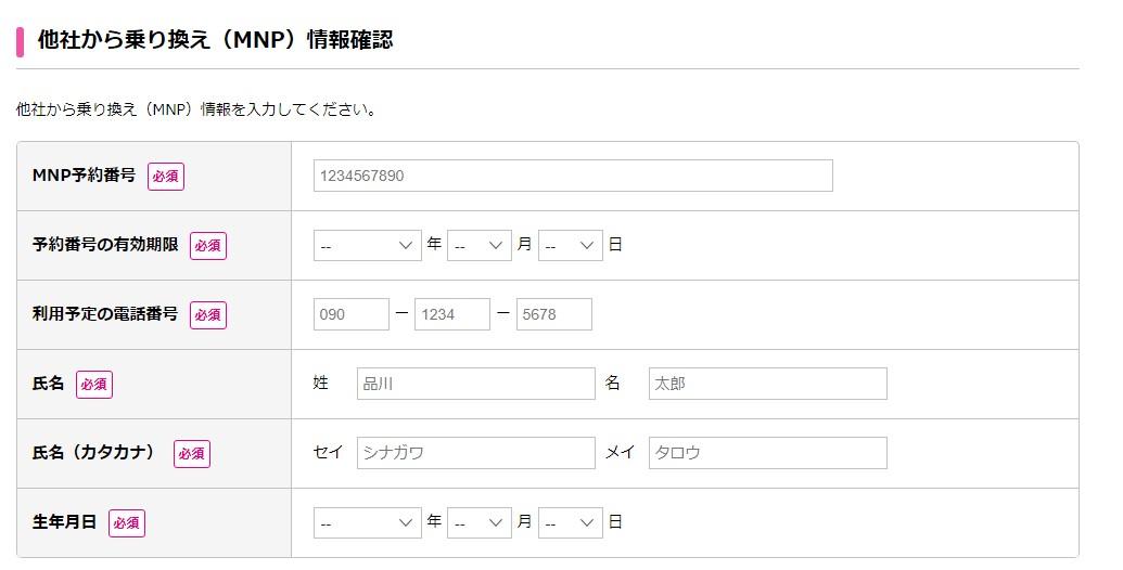申し込み者の情報入力画面